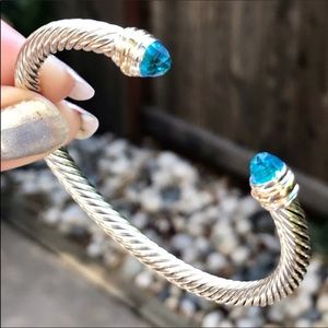 David Yurman 5mm Cable Cuff w/ Blue Topaz & 14K